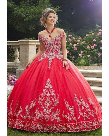 Scarlet/Gold Ball Gown Rhinestone & Sparkle Tulle