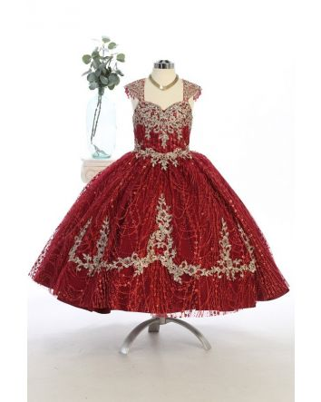 Little Princess Sequins & Glitter Ballgown with Golden Embroidery