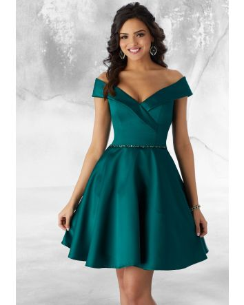 Emerald Satin Party Dress Off the Shoulder V-Neckline with Beading at the Waist