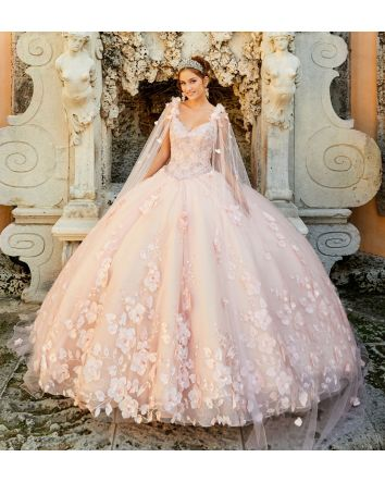 It's all Wonderland & Fairytales Princesa by Ariana Vara Light-up Quinceanera Ball Gown Tulle & Glitter with 3D Flowers & Detachable Cape. Live out Your Dreams with Princesa