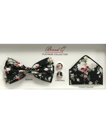 Vintage Black & Dusty Rose Floral Bow Tie, Cufflinks & Pocket Square Gift Set