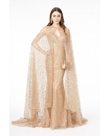 Jewel Embellished Bodice Glitter Mesh Long Gold Dress w/ Cape Sweetheart Neckline with Spaghetti Strap