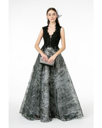 Black Silver Embroidered Jewel Embellished Lace-Mesh Long Dress, Elegant Cap Sleeve & V-neck Neckline
