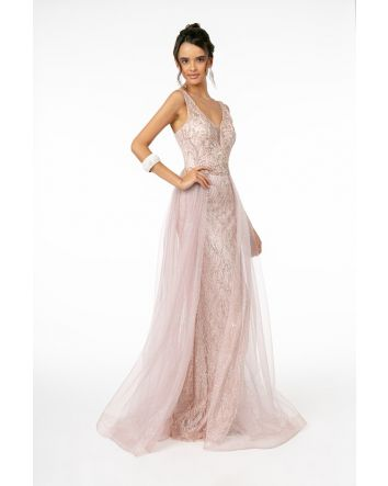Jeweled Bodice Glitter Mesh A-Line Long Dress Tull Fabric featuring an Illusion Neckline Sleeveless Gown, Look & Feel Your Absolute Best in this Special Occasion Gown by Elizabeth K