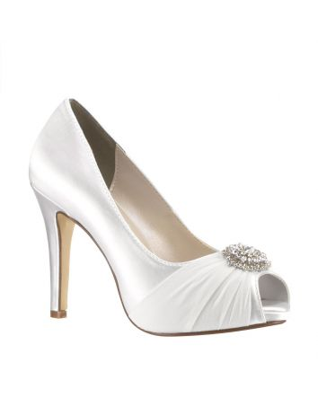 Antonia White Satin Wedding Shoe by Touch Ups - Features an elegant Jeweled Ornament on a vamp with a Silk Overlay