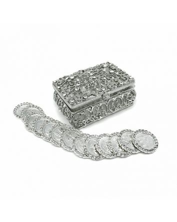 13 Arras Rhinestone Coins & Jewelry Arras Box Silver