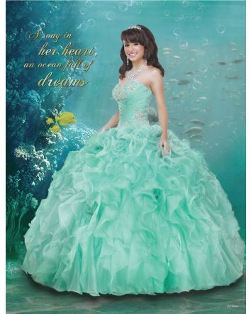 Little Mermaid Today, Princesa Tomorrow. Make a Splash on your special day and Celebrate Under the Sea with this cascading waves of organza ruffles dress that features ocean jewels that pay tribute to Ariel's courageous yet free-spirited nature. 