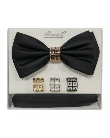 Bow Tie, Matching Pocket Square & 4 Rings Boxed Gift Set
