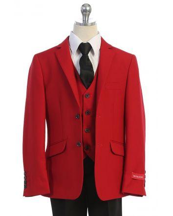 Boys Red Classic Suit with Removable Lapel, 6 piece set comes with; coat, vest, pants, shirt, tie, & removable lapel.