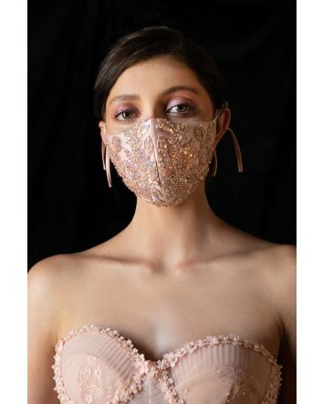 Blush Beaded Floral Antoinette Fashion Mask