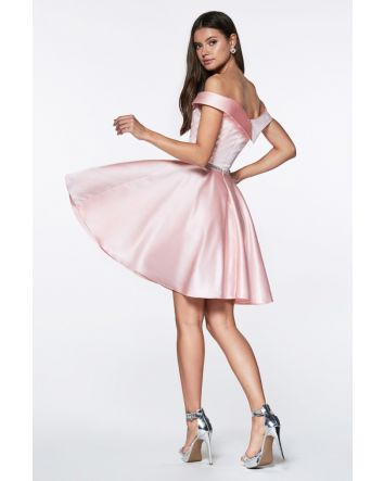 Fun & Flirty Off the shoulder short a-line dress with satin finish and beaded belt.