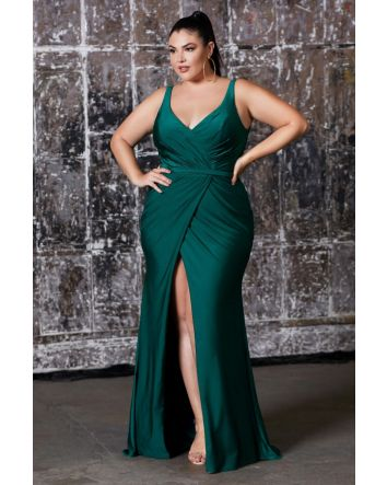 Fitted Stretch Jersey Gown with Gathered Belted Waistline & Leg Slit, Crafted to Fit & Flatter with a stunning Curve Silhouette