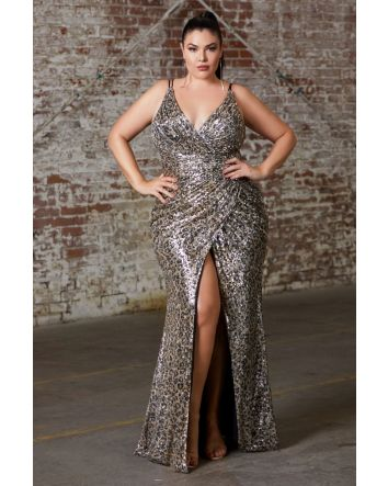 Fitted Sequin Leopard Gown with Gathered Waist, criss cross back and Leg Slit by Curve Collection Fits like a Dream