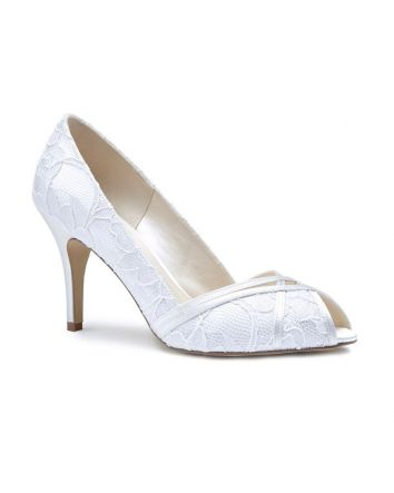 Cherie is a wonderful peeptoe pump made with a satin and lace overlay material. Perfectly elegant for any occasion, this style has a 3.125 inch heel with a leather sole.