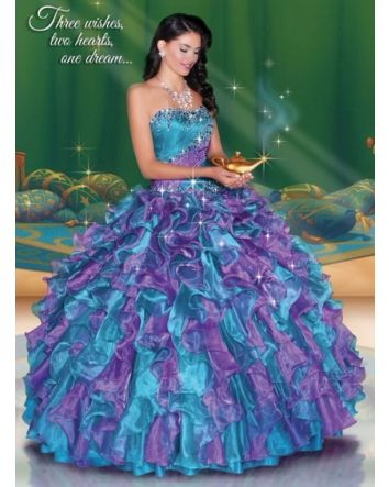 A whole new world awaits with this magical gown's shimmering beadwork and beautiful silhouette that celebrate Jasmine's bold and adventurous spirit.  Magical Details:  Dress Style: 41045  Size: 6 (Corset Back)  Color: Teal/Purplish  Fabric: Orga