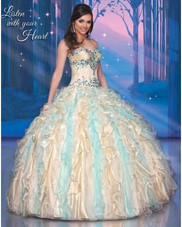 Inspired by Pocahontas' courageous heart and love of nature, this gown celebrates the beauty of the earth and the sky, with cascading ruffles and elegant draping, adorned with dazzling beadwork.  Magical Details:  Dress Style: 41056  Size: 10 (Corse