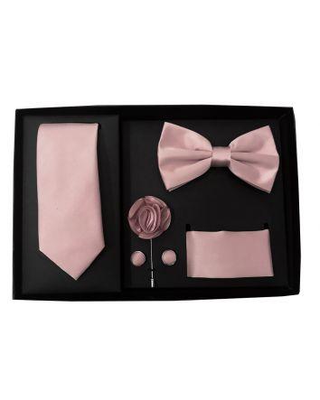 Debbie's Bridal Men's Tuxedo Gift Set  5pcs Gift Set For the Modern Gentleman (Slim Tie, Bow-Tie, Pocket Square, Lapel Flower & Cufflinks) Dusty Pink