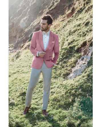 Dusty Rose Velvet Jacket by Allure Men Venice Velvet Collection Exclusively at Debbie's Bridal for the Modern Gentlemen  Luxe velvet lends richness and sheen to this amazomg Venice Velvet jacket by Allure Men. The Coat is available in Slim and Ultra Slim