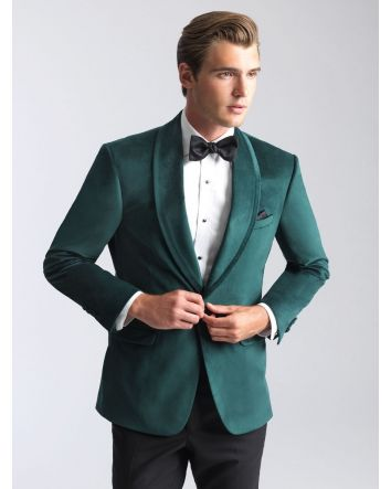 Emerald Green Velvet Jacket Shawl Lapel Allure Men Gift Set: Jacket, Bow-Tie /Pocket Square & Microfiber Fitted Dress Shirt w/ Cufflinks & Stud Set