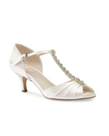 Fantasy Paradox London Shoe In White Satin Jeweled t-strap style