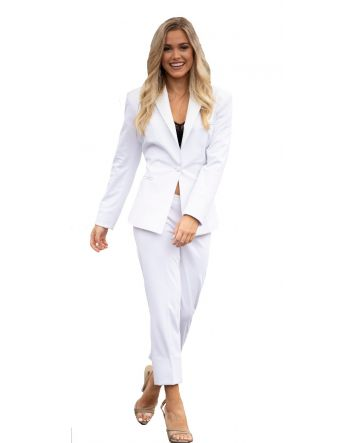 Ladies White Tuxedo Jacket Peak Floral Paisley Lapel, Trimed Beson Pockets & Button