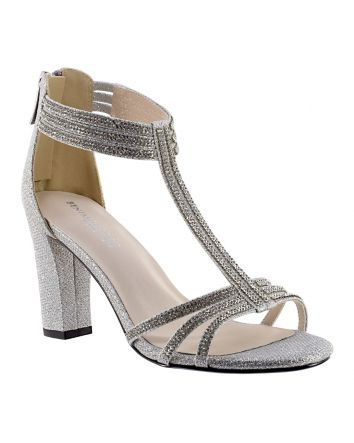 Gabriella is an Fashionista Jeweled Strappy Silver Sandal with a 2.75 inch block heel the perfect pair of shoes for your special occasion