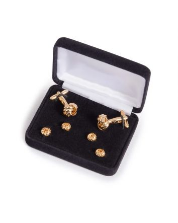 Gold Love knot Cufflink and Stud Set Gold plated metal Knot pattern Toggle-back closure Box set includes 2 Knot Cufflinks and 4 Knot Studs Available in silver and gold