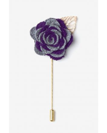 Make the ensemble for your next night out on the town an unforgettable one with our Two-Toned Flower Lapel Pin in purple. Ornamented with a gold leaf for just the right amount of panache, this accessory will stand out on any suit jacket.