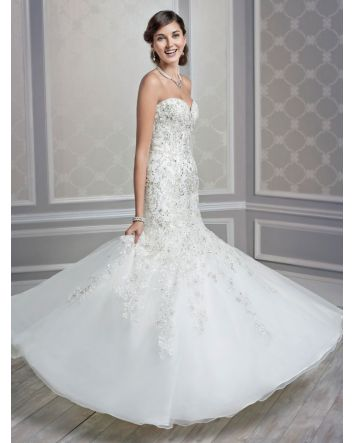 Style 1591 Mermaid/Trumpet  Wedding Dress by Kenneth Winston Strapless and sweetheart neckline bodice with full crystal embroidery
