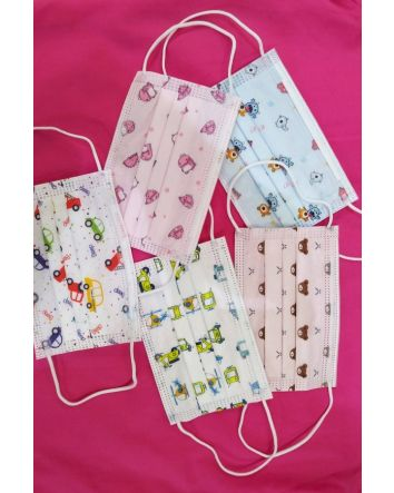 Kids Face Masks in mixed box of  50 pieces , 5 delightful animal character designs for boys & girls
