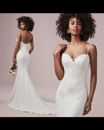 Rebecca Ingram Destiny - Sheath Wedding Dress w/Spaghetti Straps & Crepe Fabric
