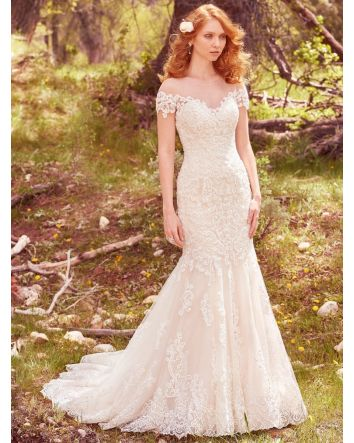 Marcy by Maggie Sottero Couture Romantic Fit-and-Flare Wedding Dress illusion Off-the-Shoulder Sleeves