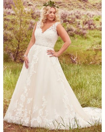 Sybil by Maggie Sottero Lace Ballgown Plus Size Wedding Dress Floral lace Appliqués w/ Swarovski Crystals over Tulle