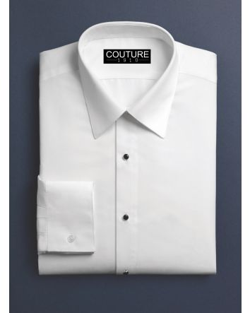 White Microfiber Lay-down Collar Shirt Fitted with Convertible Cuffs by Fabian Couture 1910 Includes Silver Cufflink & Stud Set for the Modern Gentlemen 