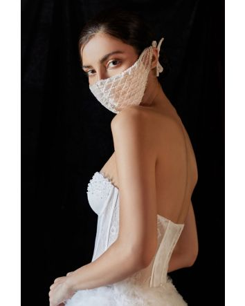 Off White Nude Beaded Lattice Bernadette Bridal Fashion Mask