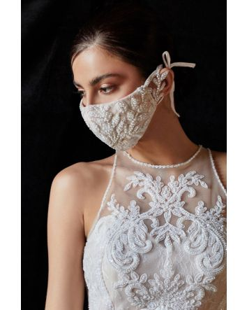 Off-White Nude Beautiful Floral Motif Beaded Rococo Cosette Bridal Fashion Face Mask