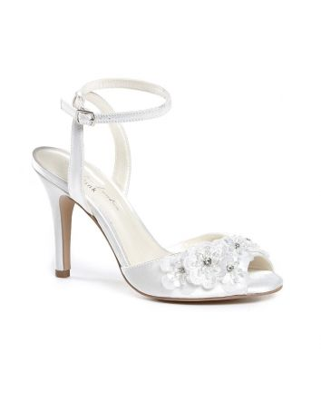 Moonflower Paradox London Wedding Shoe Ivory Satin Material with Pearls & Stones  