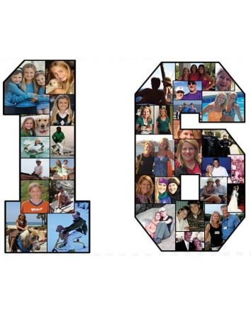 "Sweet Sixteen Photo Number Collages Personalized Memories Gift Set  24"" Tall