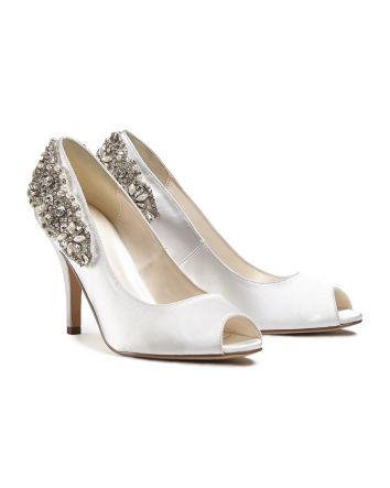 Jeweled Ornament on the Heel Cynthia Ivory  Satin Peeptoe Pump