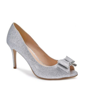 Piper from Paradox London is made with a wonderfull shimmer glitter material and features a manageble 3 inch heel. A well-designed bow on the vamp is the perfect accent for this stylish peeptoe pump.