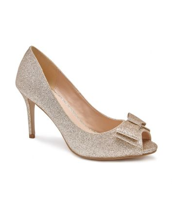 Piper Paradox London Shoe In Champagne Shimmer Glitter with a stylish Bow on the vamp peeptoe pump