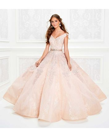 Princesa by Ariana Vara - Off The Shoulder Blush Ball Gown