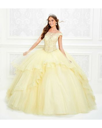 Cold Shoulder Tulle Ball Gown with Beaded Spaghetti Straps & an Illusion Scalloped Off the Shoulder Neckline,  Embroidered Beaded Lace Sweetheart Bodice with Basque Waistline, Embroidered Illusion Keyhole Back, Two Ruffled  High-Low Overskirts with Em