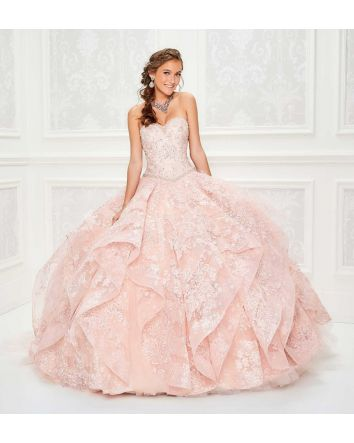 Strapless Sweetheart Sparkel Tulle Ball Gown with Allover Embroidered Sequin Lace, Beaded Bodice with Basque Waistline, Lace Up Back, Ruffled Voluminous Skirt with Banded Horsehair Trim and Chapel Train. Matching Bolero Jacket & Removable Straps Included.