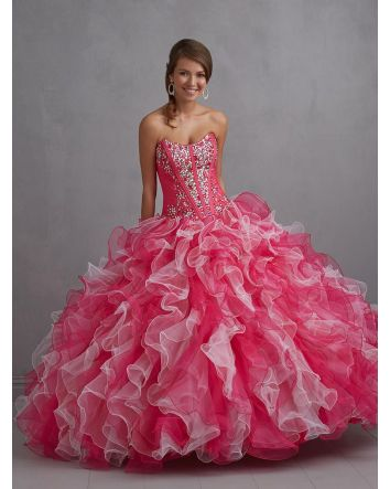 Vibrant and fun, this strapless gown features a multi-colored ruffled skirt and a sparkling bodice  Magical Details:  Dress Style: Q410  Size: 10  Color: Magenta  Magical Details:  New Dress with Tags  Includes Standard Shipping!  Magical