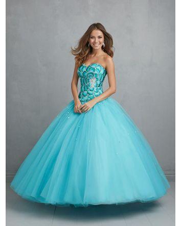 Allure Aqua Ballgown Floral Bodice Design Tulle Skirt