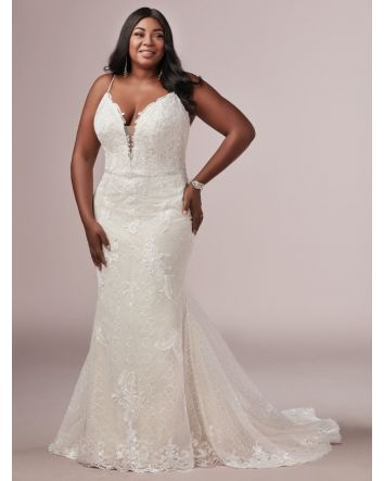 Give those curves the attention they deserve with this plus-size sheath wedding dress. It flatters, forms, and fits like a glove in all the right places. Wedding Dress Details: Dress Style:  Laurette Lynette - 9RS892AC   Size: 22 (Sample Dress in Stock