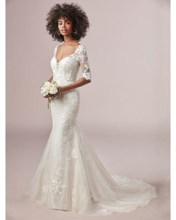 Whimsical Mandy Fit-and-Flare Wedding Dress with Sleeves 