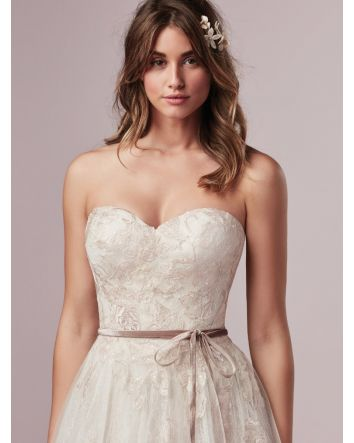 Summer by Rebecca Ingram Couture Ivory over Blush/Vintage Rose Strapless A-line Wedding Dress