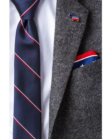 Democratic Statesmen & Patriot Gift Set - Democratic Donkey Red Lapel Pin, Cufflinks & Navy Blue Skinny Tie Plus American Flag Red Pocket Square
